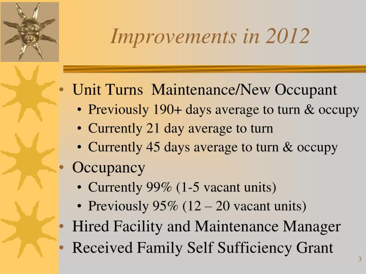 Improvements in 2012