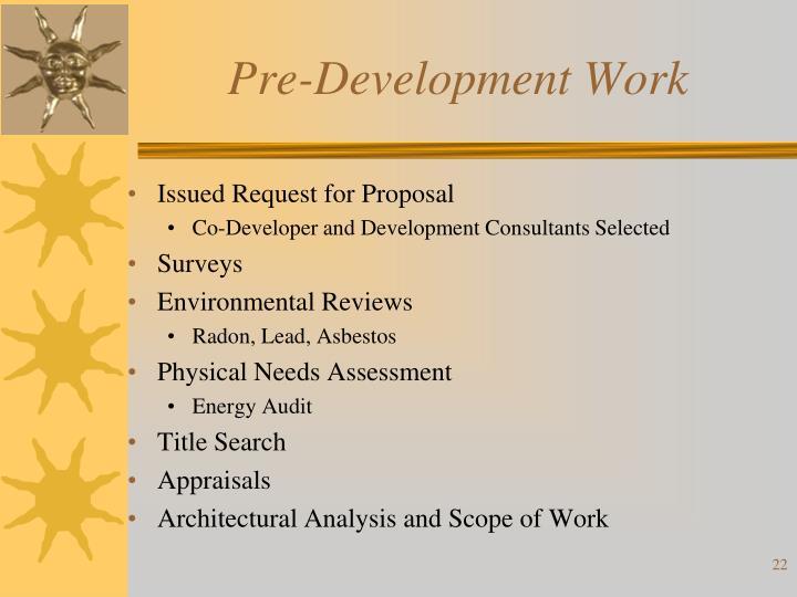 Pre-Development Work