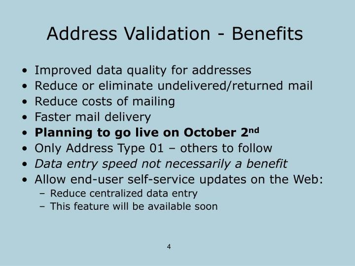 Address Validation - Benefits