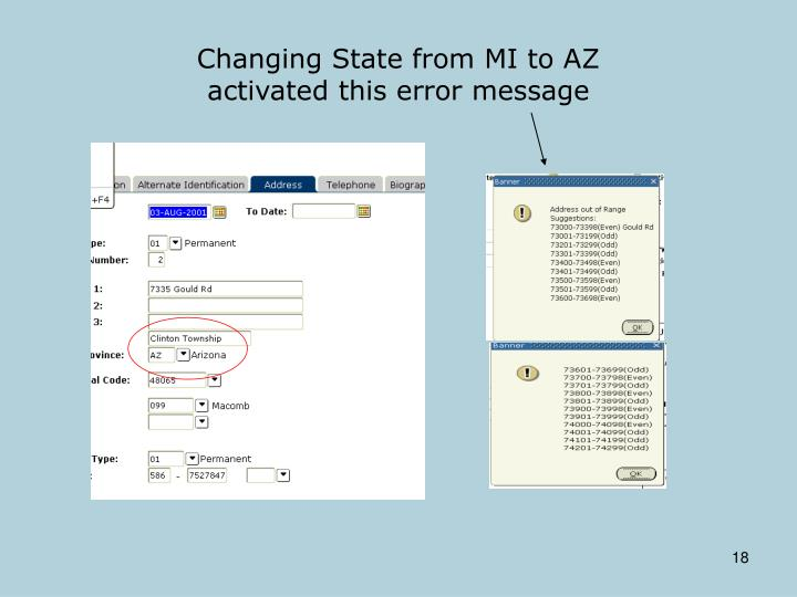 Changing State from MI to AZ