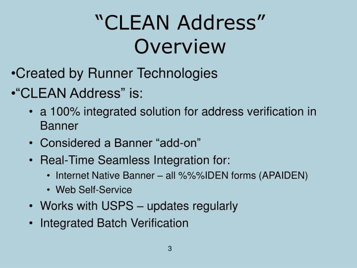 """""""CLEAN Address"""" Overview"""