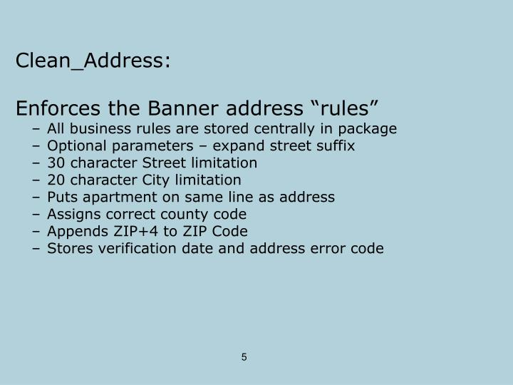 Clean_Address: