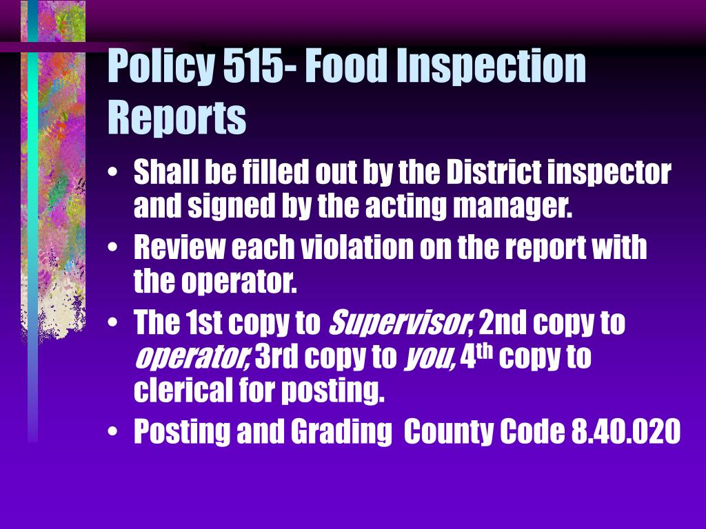 Policy 515- Food Inspection Reports