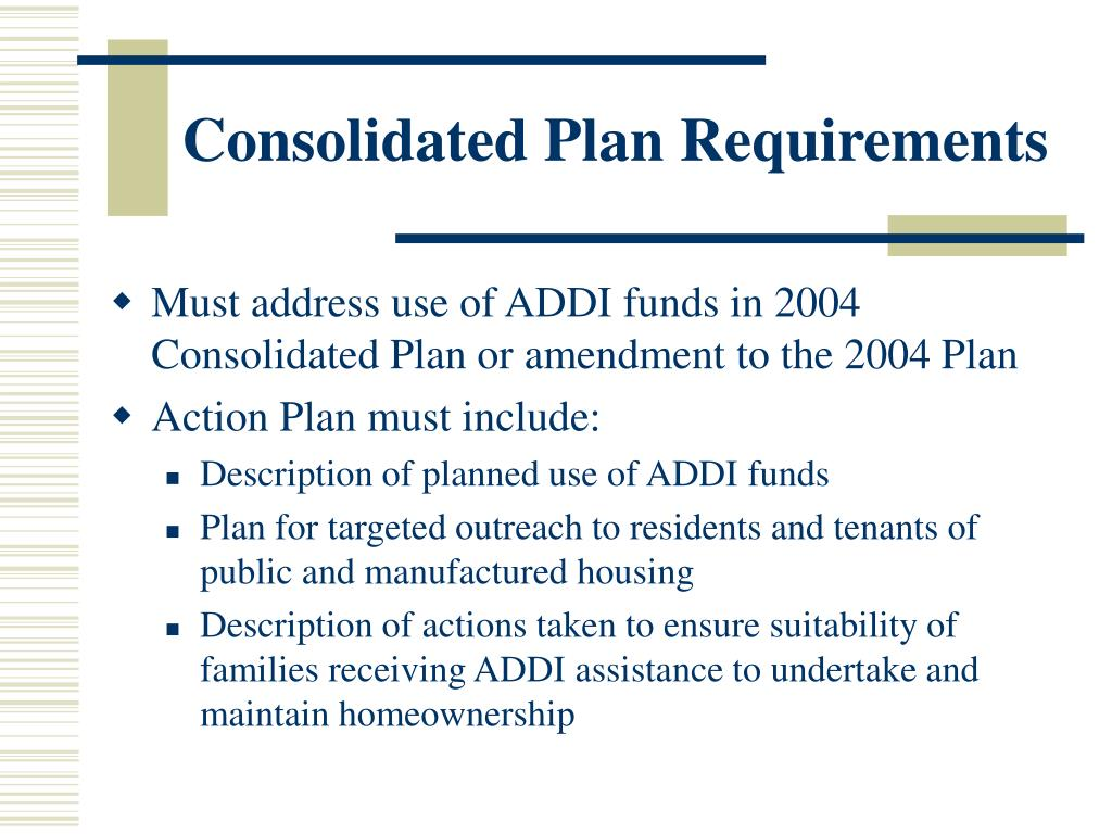 Consolidated Plan Requirements