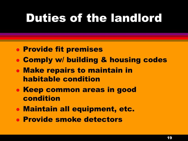 Duties of the landlord