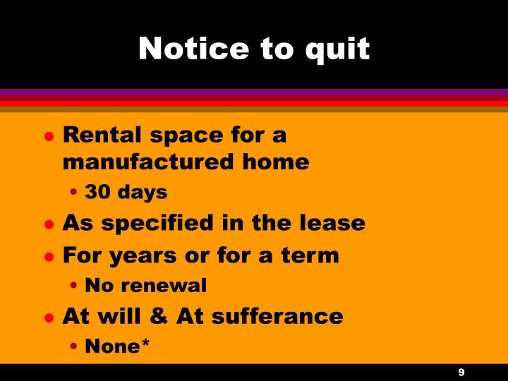 Notice to quit