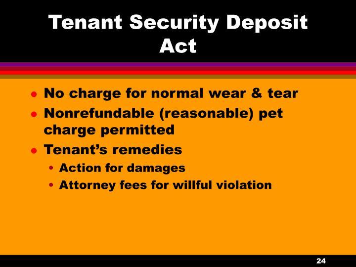 Tenant Security Deposit Act