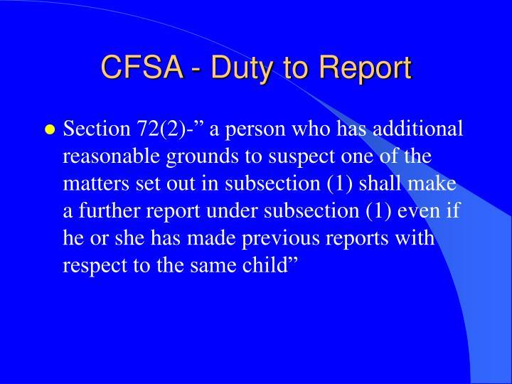 CFSA - Duty to Report