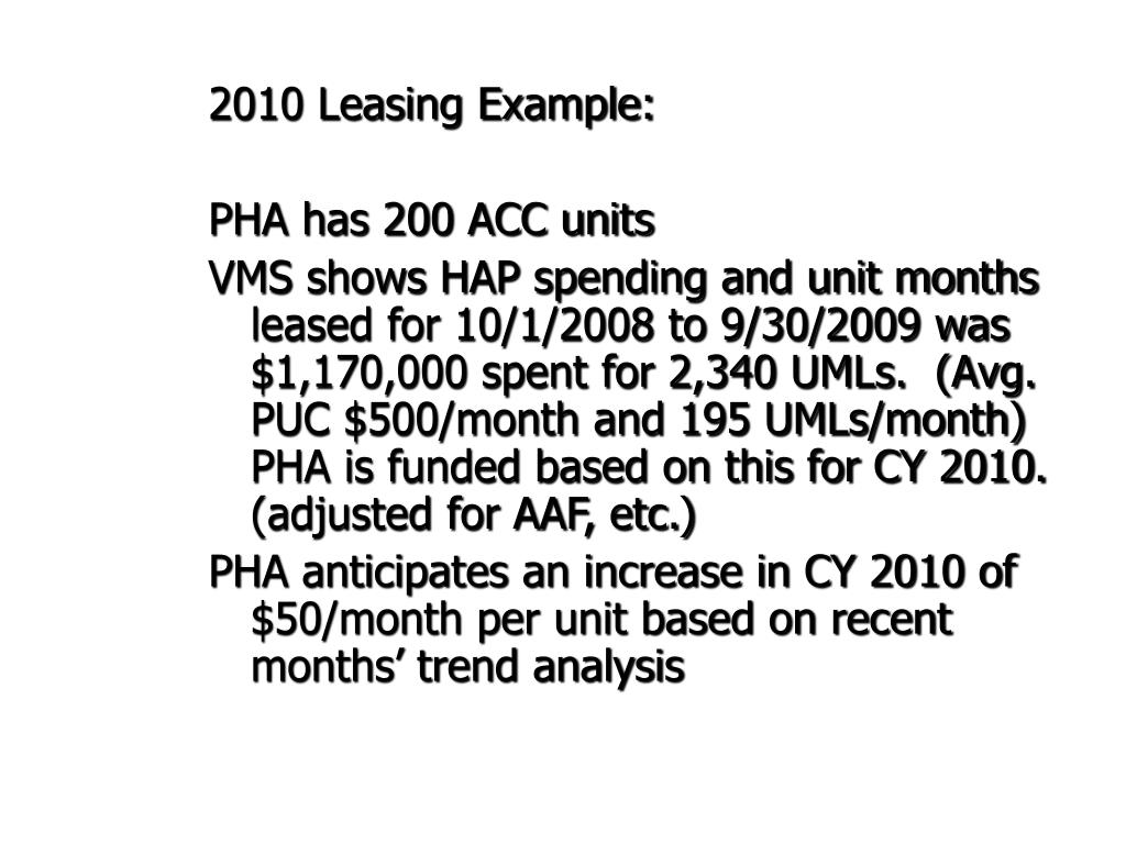 2010 Leasing Example: