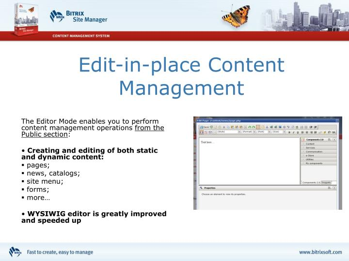 Edit-in-place Content Management