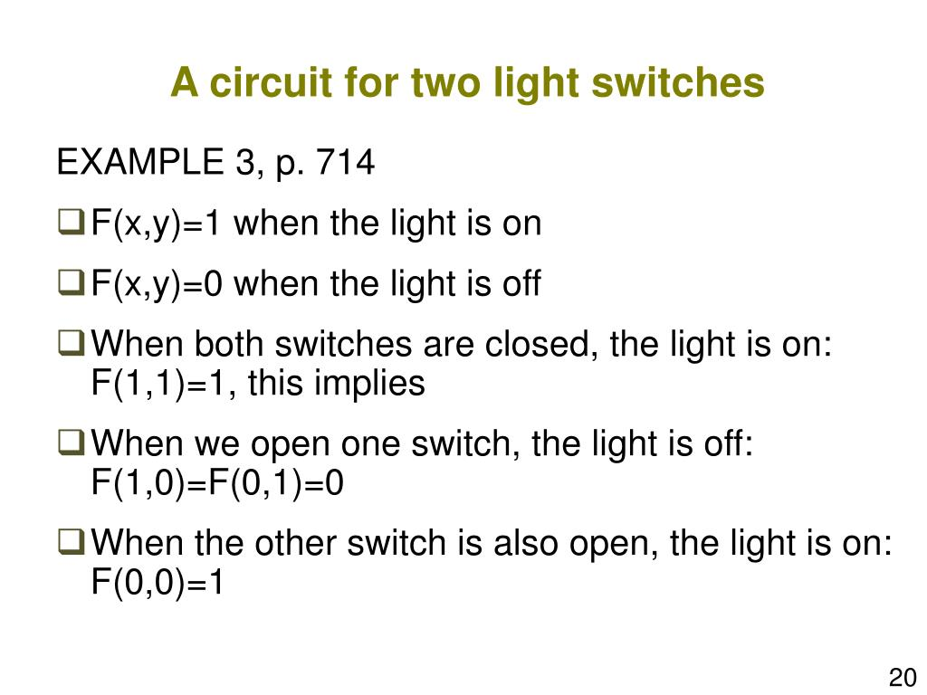 A circuit for two light switches