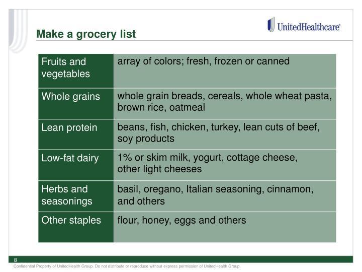 Make a grocery list