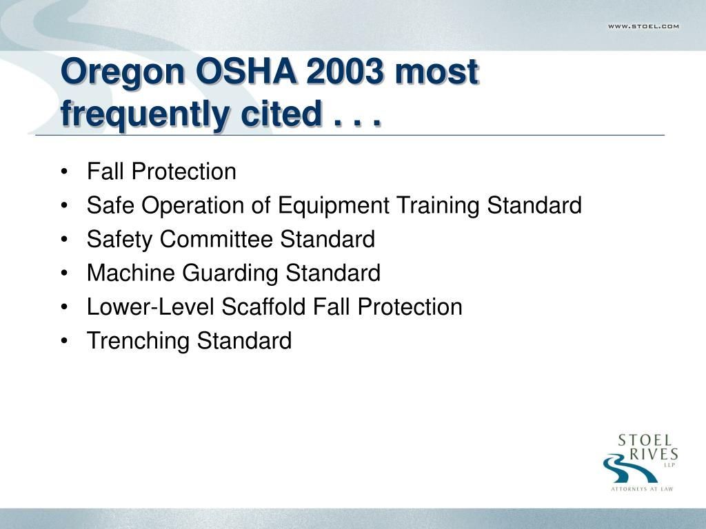 Oregon OSHA 2003 most frequently cited . . .