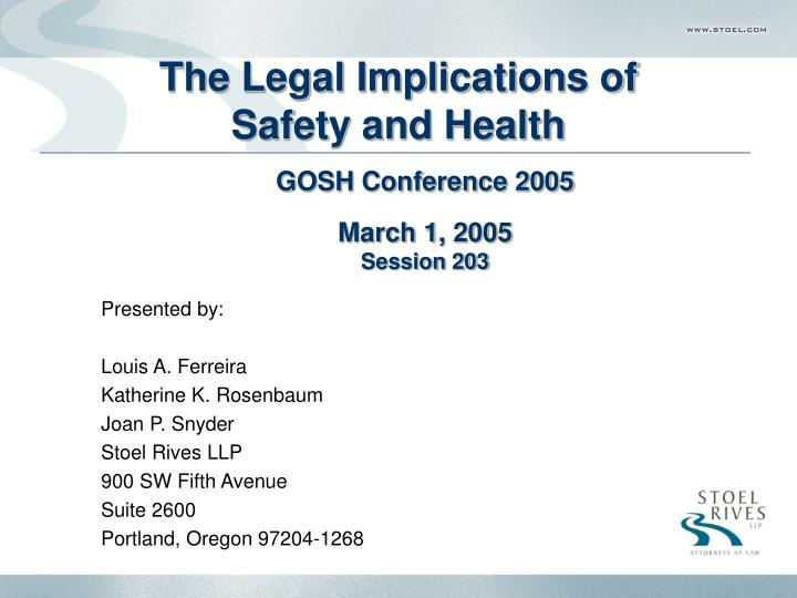 The legal implications of safety and health l.jpg