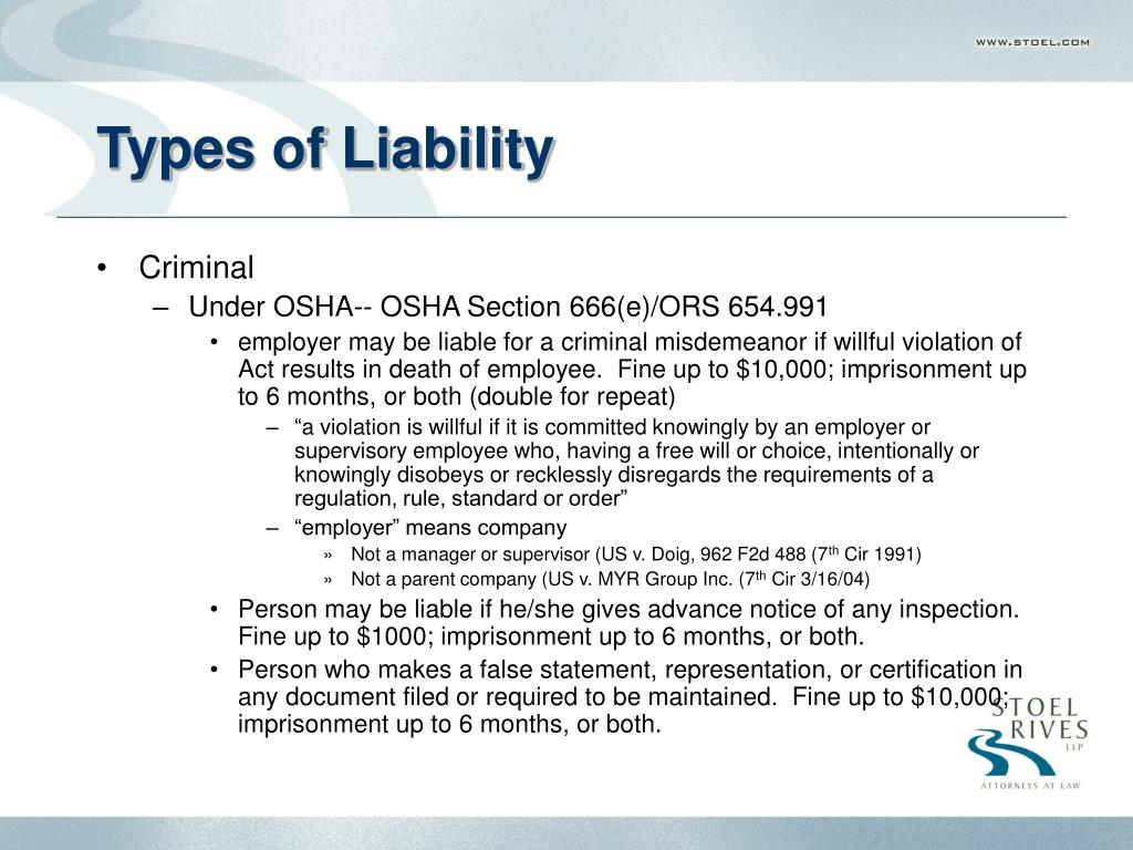 Types of Liability