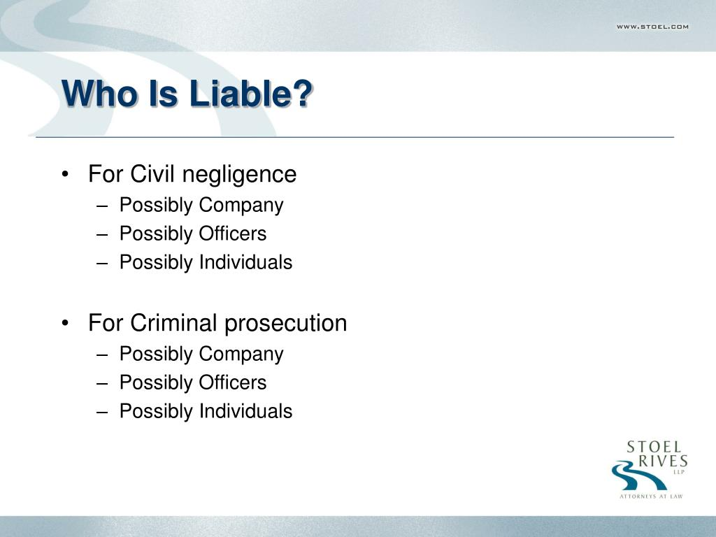 Who Is Liable?