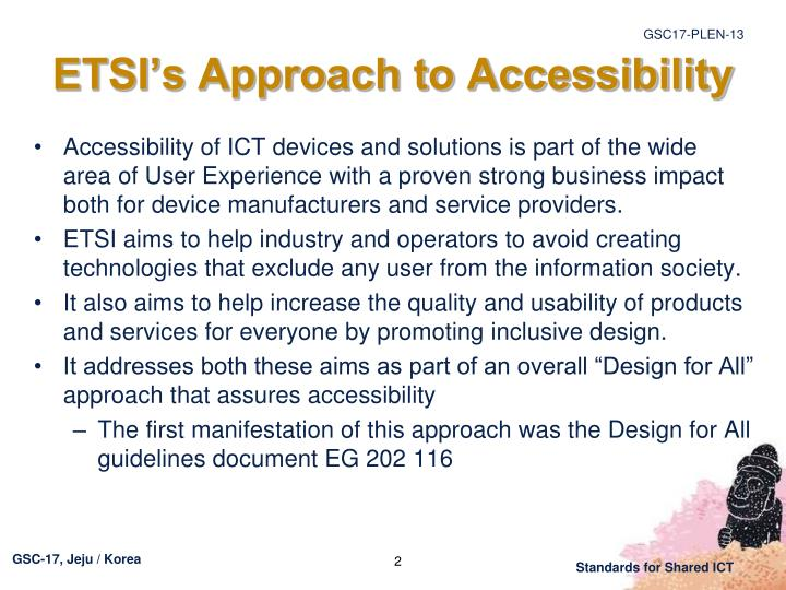 ETSI's Approach to Accessibility