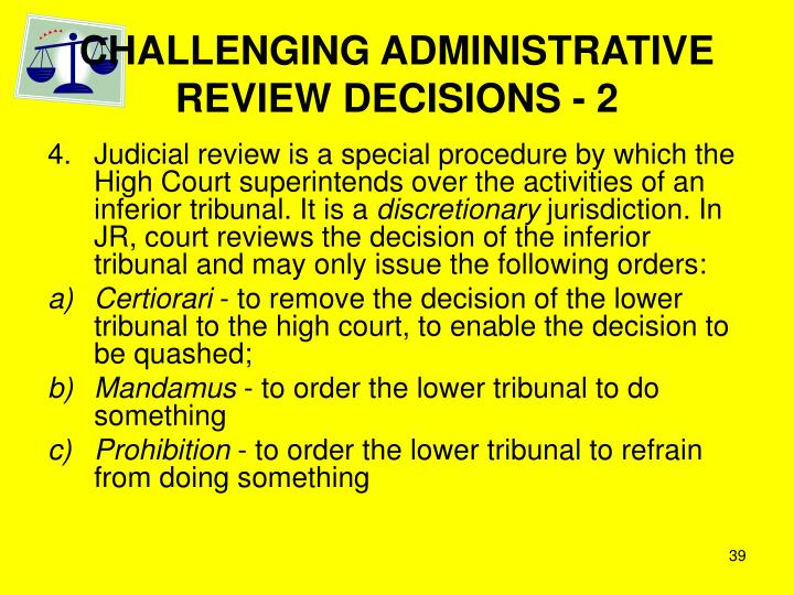 CHALLENGING ADMINISTRATIVE REVIEW DECISIONS - 2