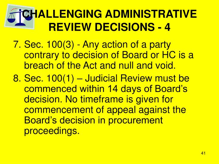 CHALLENGING ADMINISTRATIVE REVIEW DECISIONS - 4