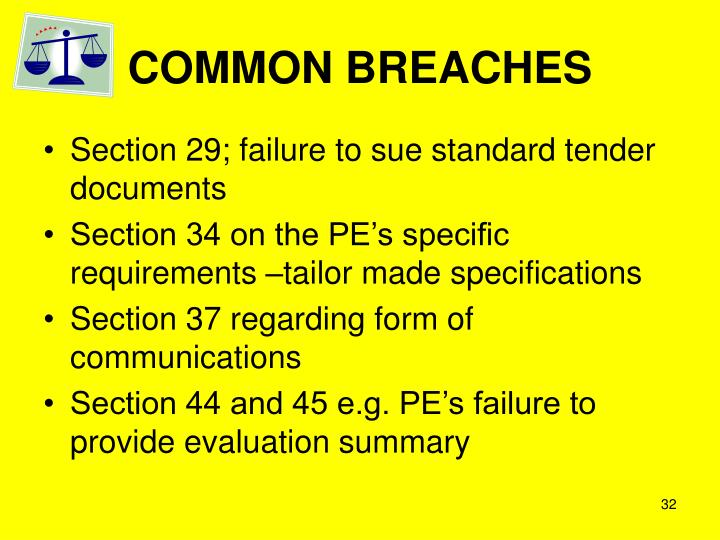 COMMON BREACHES