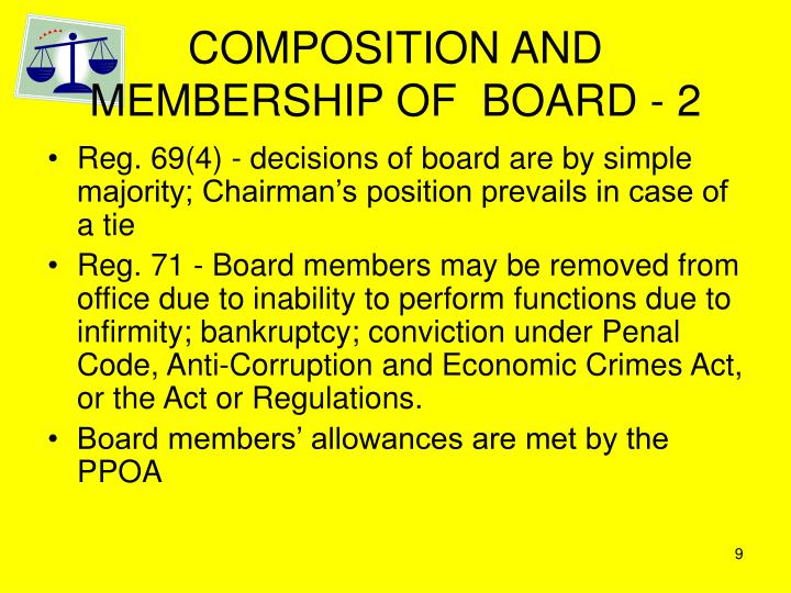 COMPOSITION AND MEMBERSHIP OF  BOARD - 2