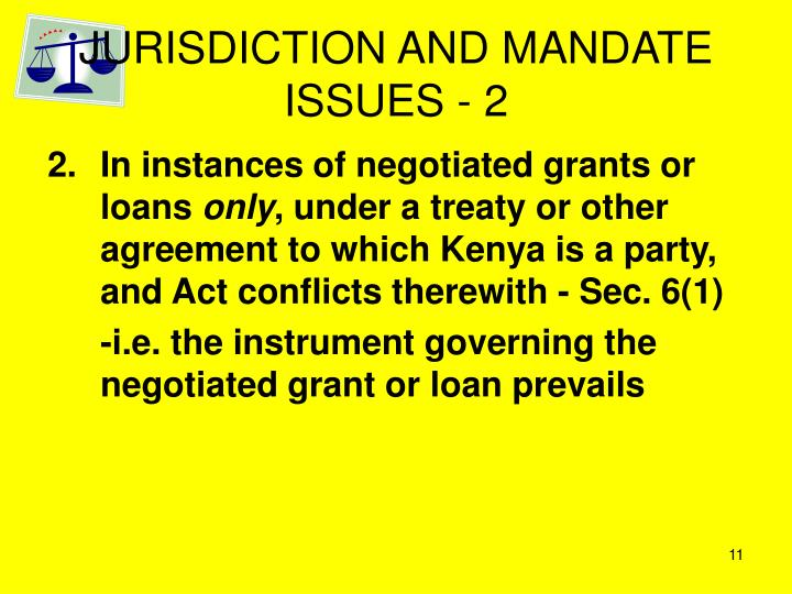 JURISDICTION AND MANDATE ISSUES - 2