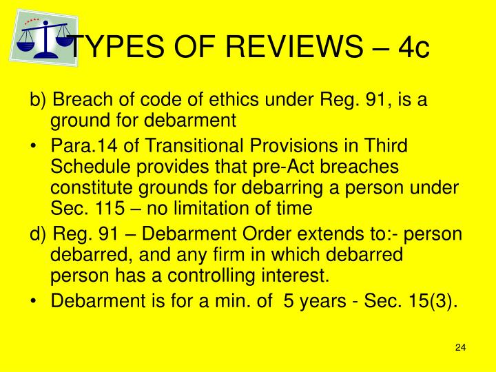 TYPES OF REVIEWS – 4c