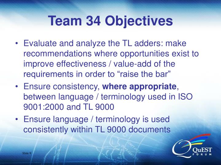 Team 34 Objectives