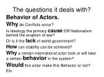 the questions it deals with
