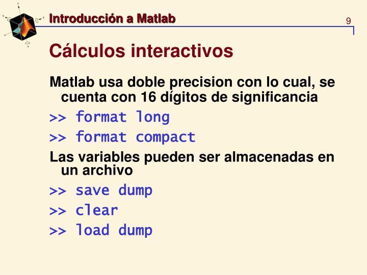 Cálculos interactivos
