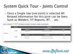 system quick tour joints control1