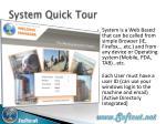 system quick tour