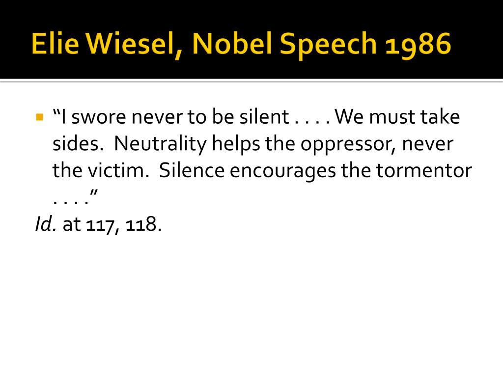Elie Wiesel, Nobel Speech 1986