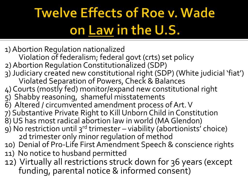 Twelve Effects of Roe v. Wade