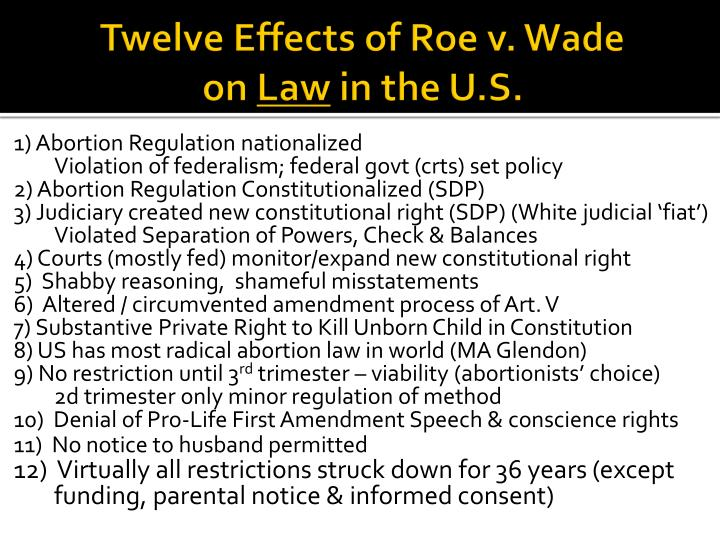 Twelve effects of roe v wade on law in the u s