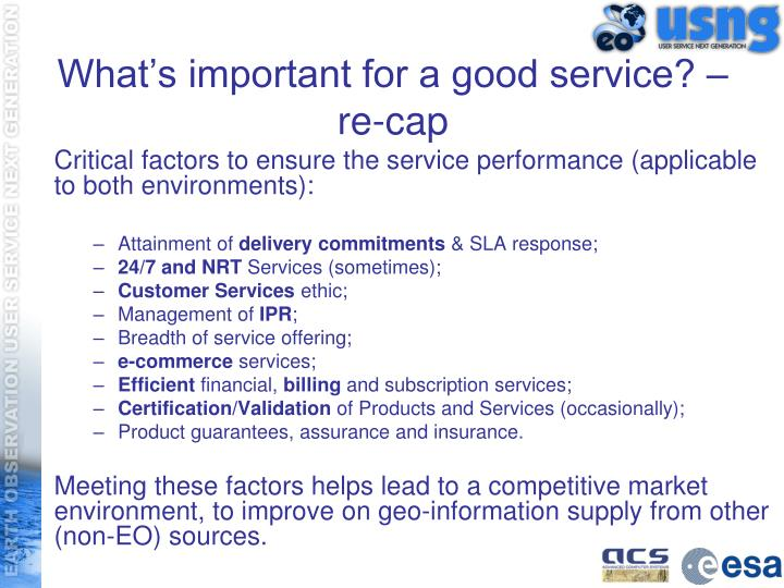 What's important for a good service? – re-cap