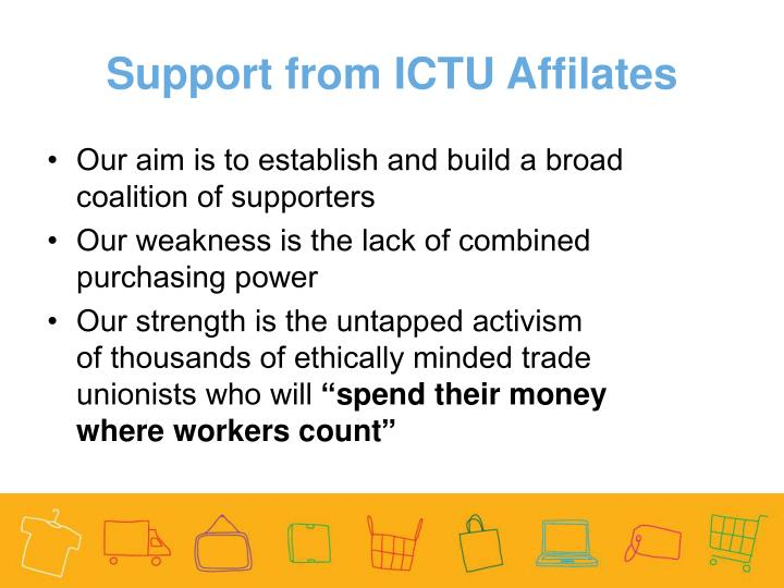 Support from ICTU Affilates