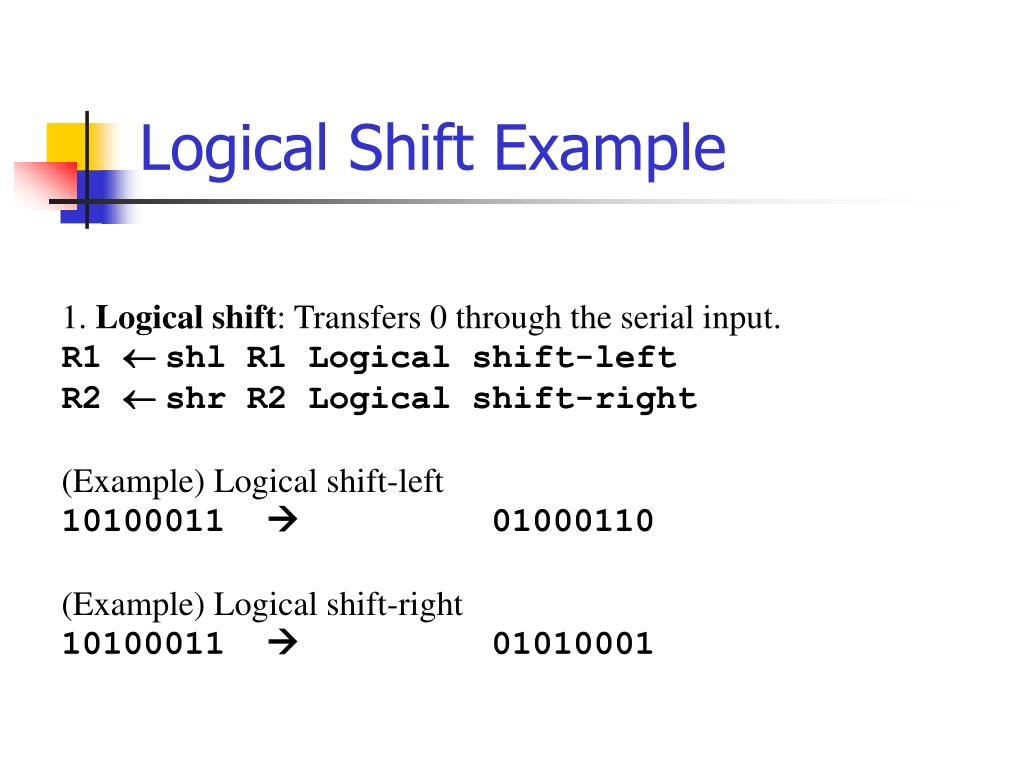 Logical Shift Example