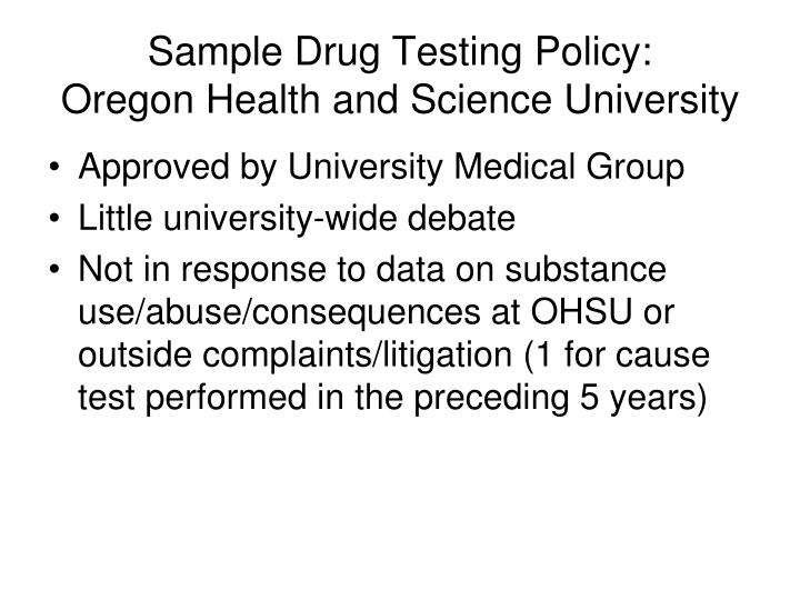 Sample Drug Testing Policy: