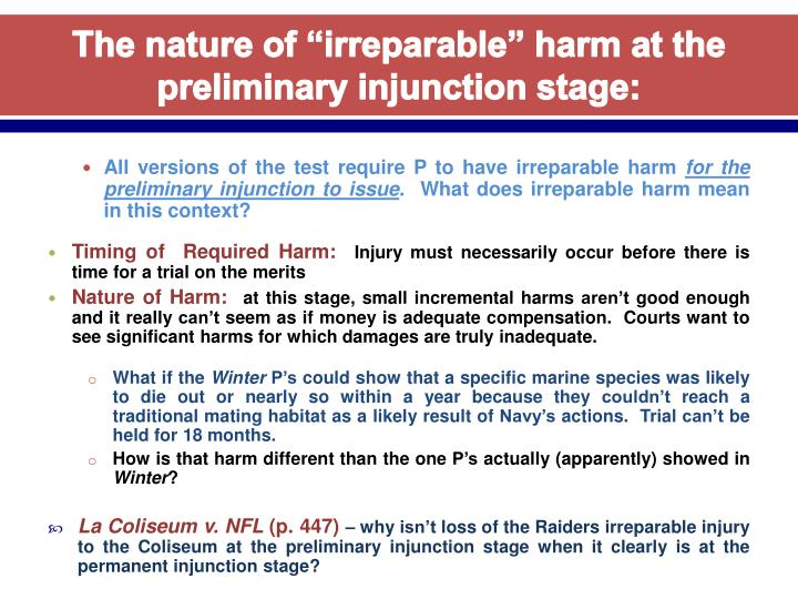 "The nature of ""irreparable"" harm at the preliminary injunction stage:"