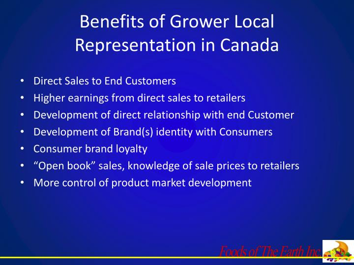 Benefits of Grower Local Representation in Canada