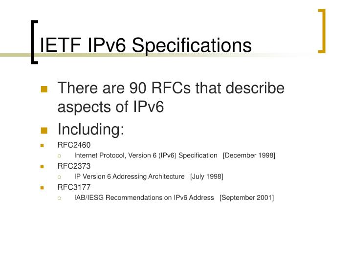 IETF IPv6 Specifications