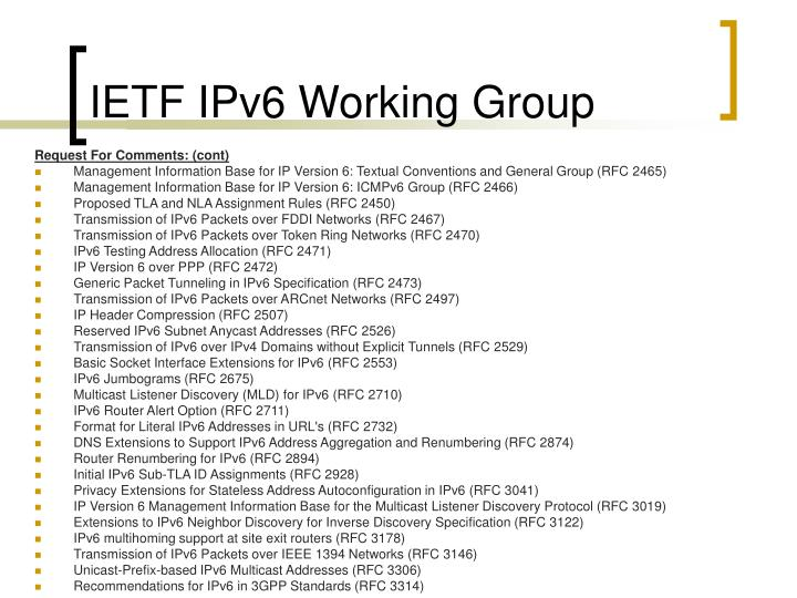 IETF IPv6 Working Group