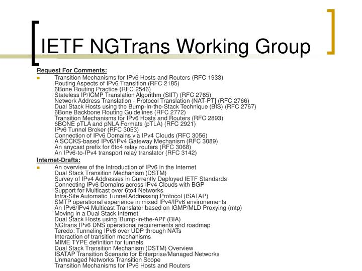 IETF NGTrans Working Group
