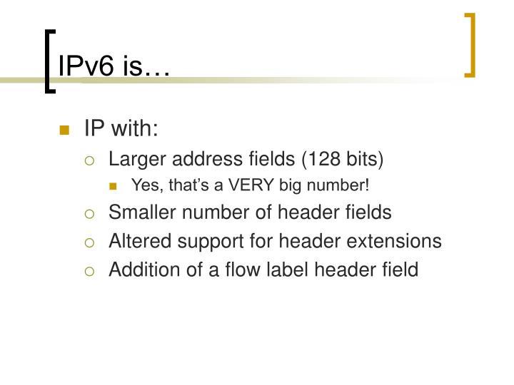 IPv6 is…