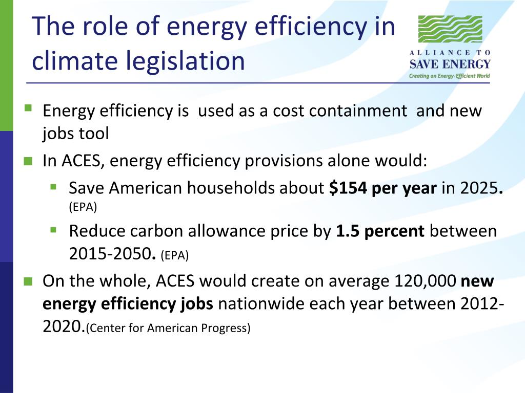 The role of energy efficiency in climate legislation