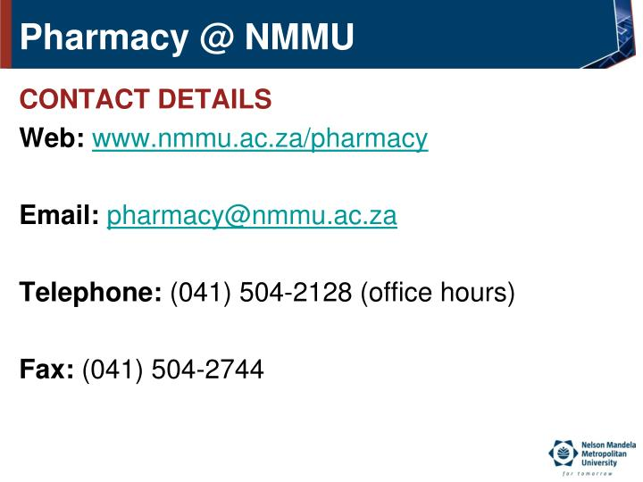 Pharmacy @ NMMU