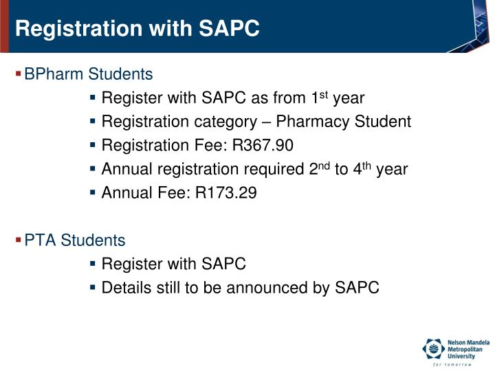 Registration with SAPC