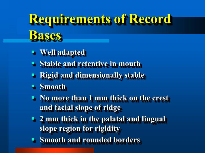 Requirements of Record Bases