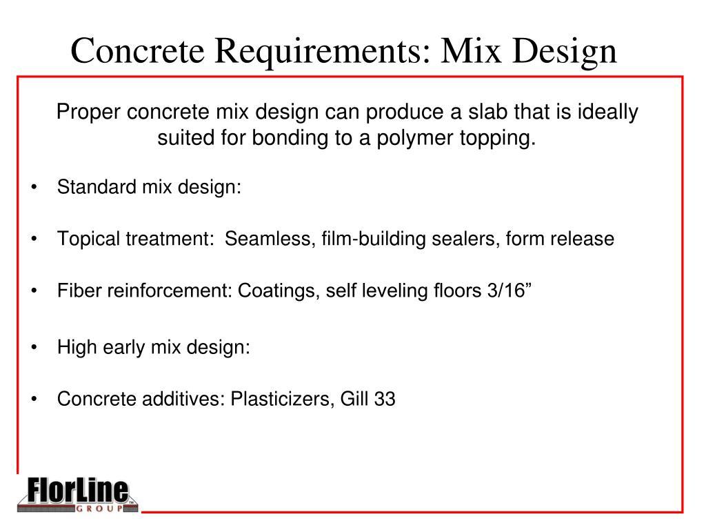 Concrete Requirements: Mix Design